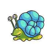 Smiling cute green snail with colorful blue home shell. Cartoon style. Vector illustration on white background