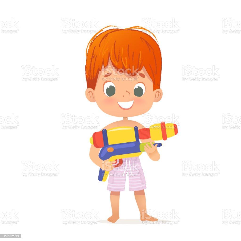 Glimlachend schattig rood haar baby jongen met een speelgoed water pistool poseren. Pool Party karakter met een ToyGun. Strand jongen karakter geïsoleerd. - Royalty-free Baby vectorkunst