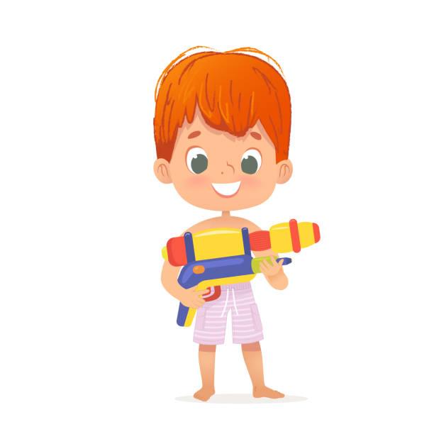stockillustraties, clipart, cartoons en iconen met glimlachend schattig rood haar baby jongen met een speelgoed water pistool poseren. pool party karakter met een toygun. strand jongen karakter geïsoleerd. - festival logo baby