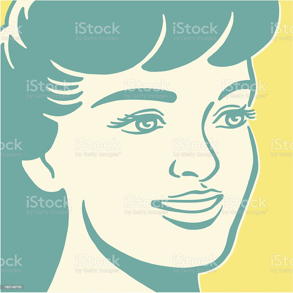 Smiling Dark Haired Woman royalty-free stock vector art
