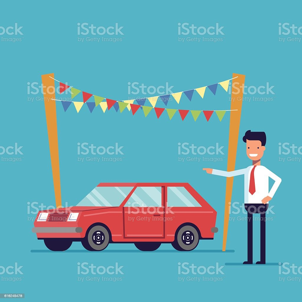 Smiling dealer offers to buy the car. Sale of new – Vektorgrafik