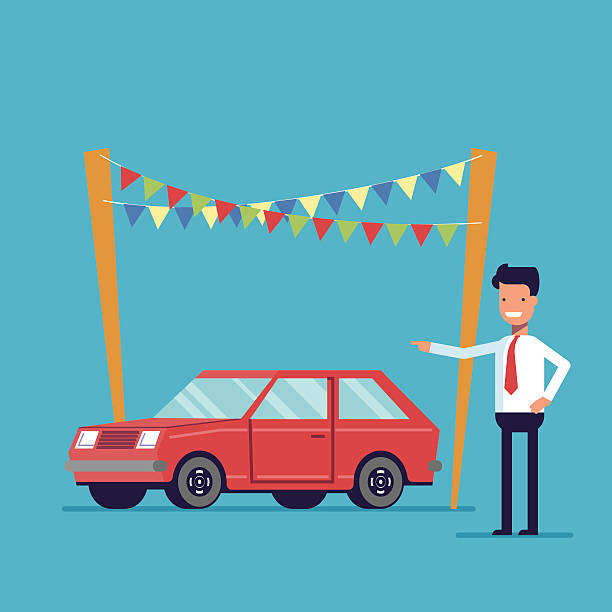Smiling dealer offers to buy the car. Sale of new Smiling dealer offers to buy the car. Sale of new and second-hand vehicles. Happy man in a shirt and tie. Vector flat image isolated on a blue background car salesperson stock illustrations