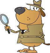 Cartoon Character Smiling Detective Dog Holding A Magnifying Glass