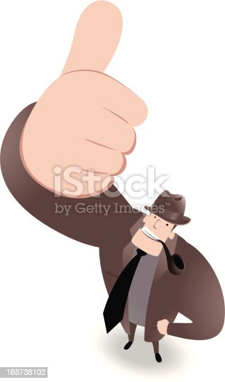 istock Smiling Detective Looking Upward And Gesturing Thumbs Up 165738102