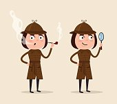 Smiling detective woman character looking through magnifying glass and smoking pipe. Vector flat cartoon illustration