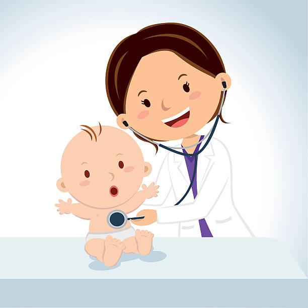 ilustrações, clipart, desenhos animados e ícones de sorrindo doutor examinando bebê menino - pediatra