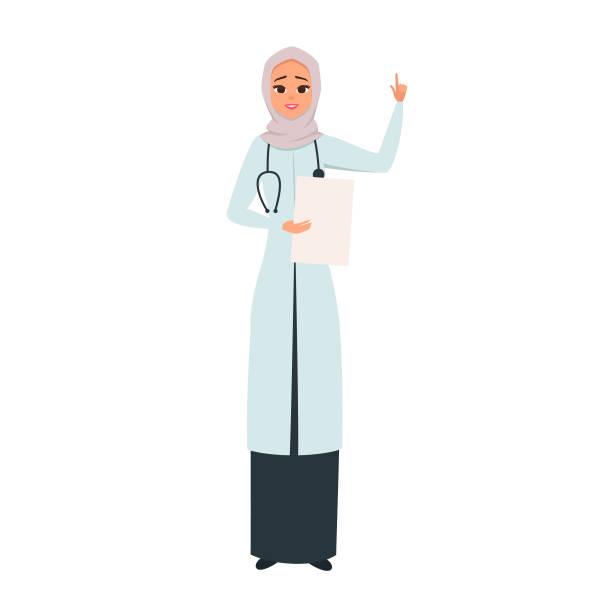 微笑的醫生在面紗與她的手作為關注的標誌。 - emirati woman 幅插畫檔、美工圖案、卡通及圖標