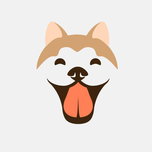 Smiling dog face vector. Cute puppy Akita or Shiba icon symbol design – artystyczna grafika wektorowa