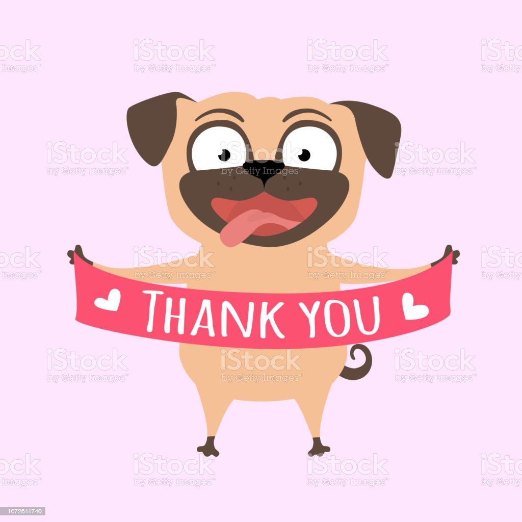 Lächelnde Hund Sagt Danke Mops Mit Einem Banner In Die Pfote Stock