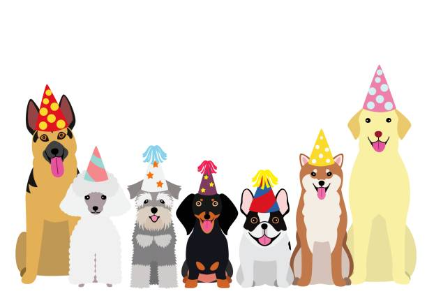 パーティー ハットと笑顔の犬 ベクターアートイラスト