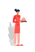 Smiling domestic female character in apron holding home bakery cake isolated on white. Happy cartoon housewife having small business cooking baking dessert pie to order vector flat illustration