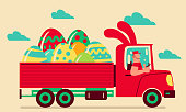 Easter Cartoon Characters Design Vector Art Illustration. Smiling driver driving a truck which has Easter bunny ears delivering Easter Eggs and giving a thumbs-up.
