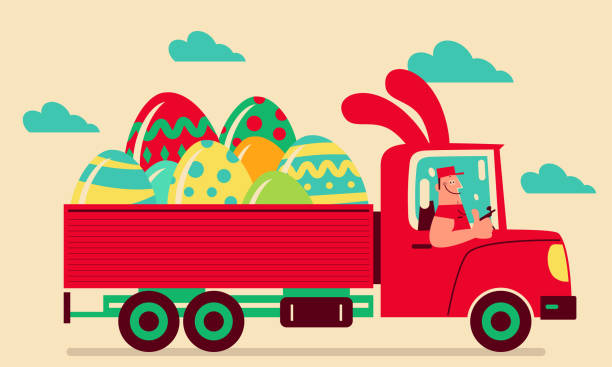 Smiling driver driving a truck which has Easter bunny ears delivering Easter Eggs and giving a thumbs-up vector art illustration