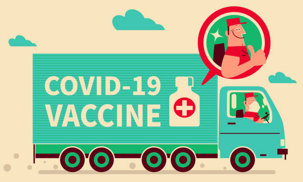 Smiling driver with face mask driving a truck delivering COVID-19 vaccine (distribution), giving a thumbs-up, COVID-19 vaccine shipment concept, coronavirus vaccine doses arrive vector art illustration