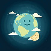 Smiling earth and moon globe view concept. EPS 10 file. Transparency effects used on highlight elements.