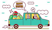 Easter Cartoon Characters Design Vector Art Illustration. Smiling Easter bunny driver driving a pick-up truck delivering Easter Eggs.