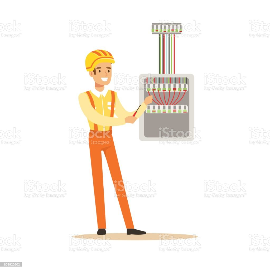 Smiling electrician screwing equipment in fuse box, electric man performing  electrical works vector Illustration royalty