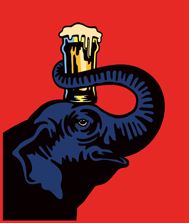 Smiling elephant holding beer pint glass on head with snout