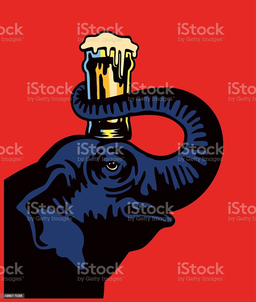 Smiling elephant holding beer pint glass on head with snout vector art illustration