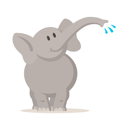 Smiling elephant playing with water, cartoon character. Flat vector illustration, isolated on white background.