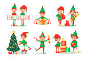 Smiling elves packing gifts. Decorating Christmas tree for celebration. Happy children in New Year fairy costumes with candies and lollipops and presents. Cute magic fantasy winter characters. Vector illustration, cartoon flat style.