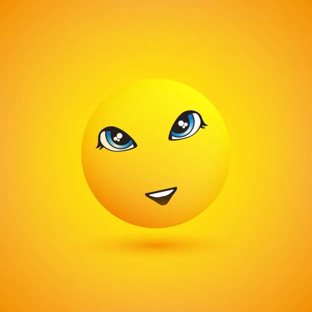 ilustraciones, imágenes clip art, dibujos animados e iconos de stock de diseño de emoji sonriente - ojos azules