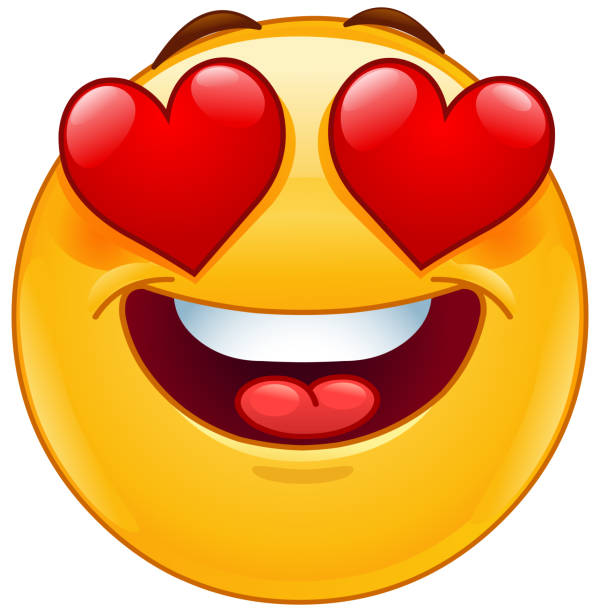 smiling emoticon face with heart eyes - kiss stock illustrations