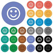 Smiling emoticon round flat multi colored icons