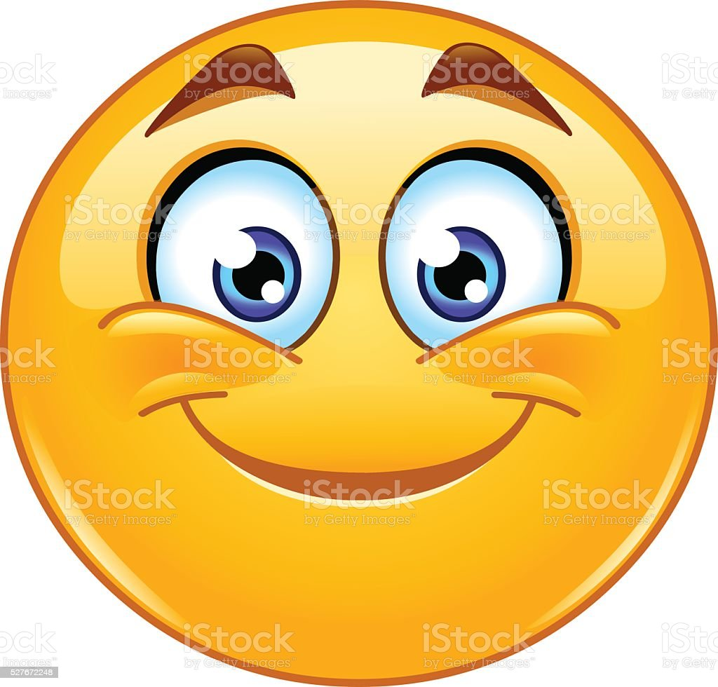 Smiling emoticon vector art illustration
