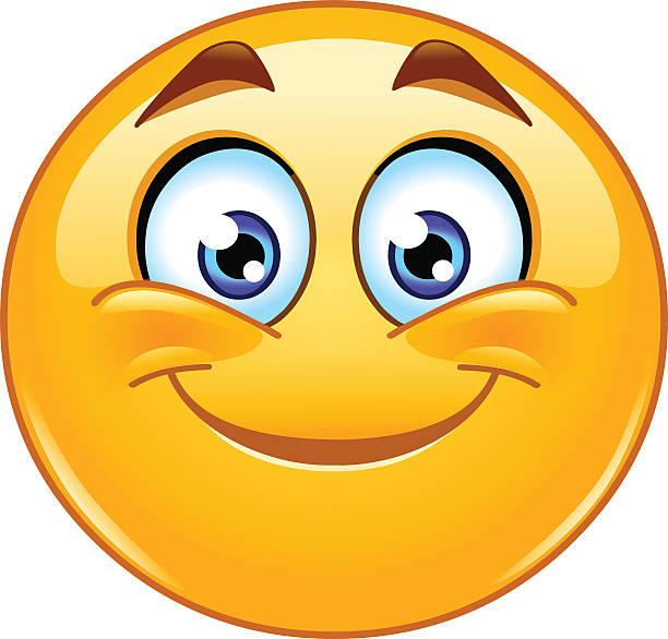 Smiling emoticon Smiling emoticon shy stock illustrations