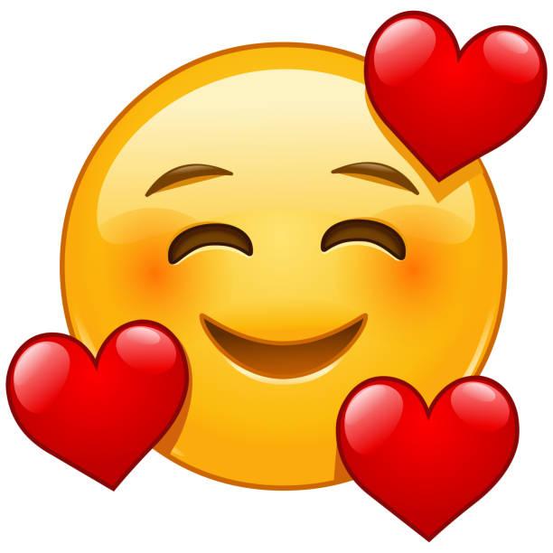 stockillustraties, clipart, cartoons en iconen met glimlachend emoticon met 3 harten - kussen met de mond