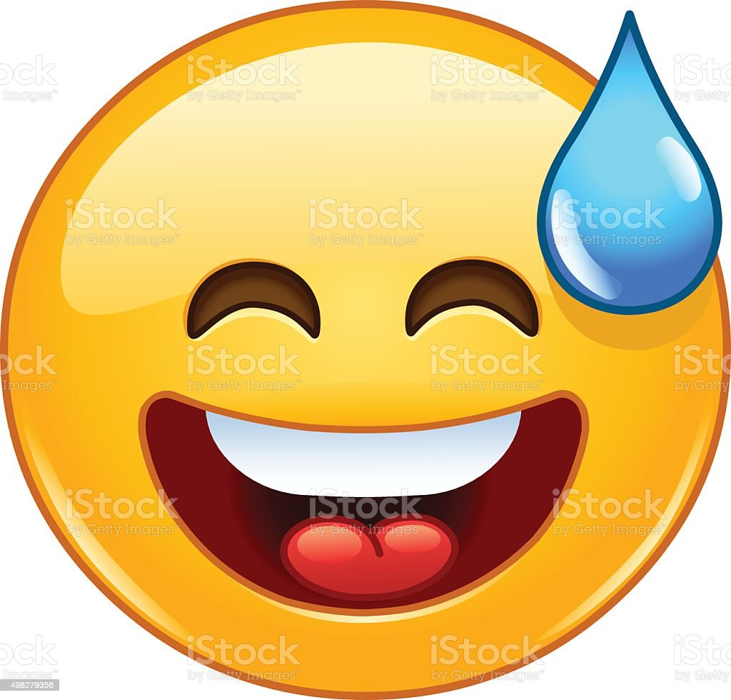 Smiling emoticon with open mouth and cold sweat vector art illustration