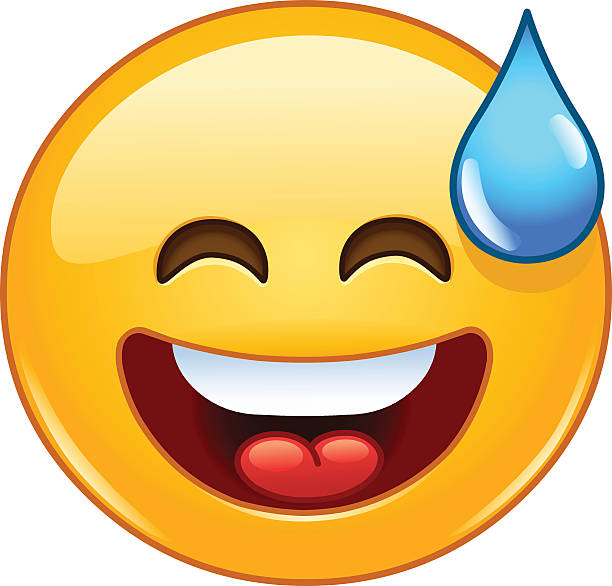 smiling emoticon with open mouth and cold sweat - tears of joy emoji stock illustrations