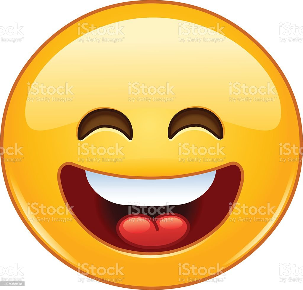 Smiling emoticon with open mouth and smiling eyes vector art illustration