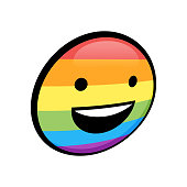 Vector illustration of a happy and smiling emoticon with the rainbow flag colors. Perfect for social media projects, designs, concepts and ideas and all kinds of projects related to social and sexuality issues.