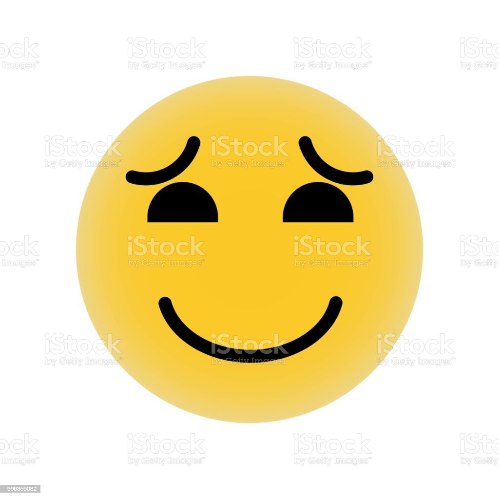 Smiling Emoticon With Raised Eyebrows And Closed Eyes Icon Vector