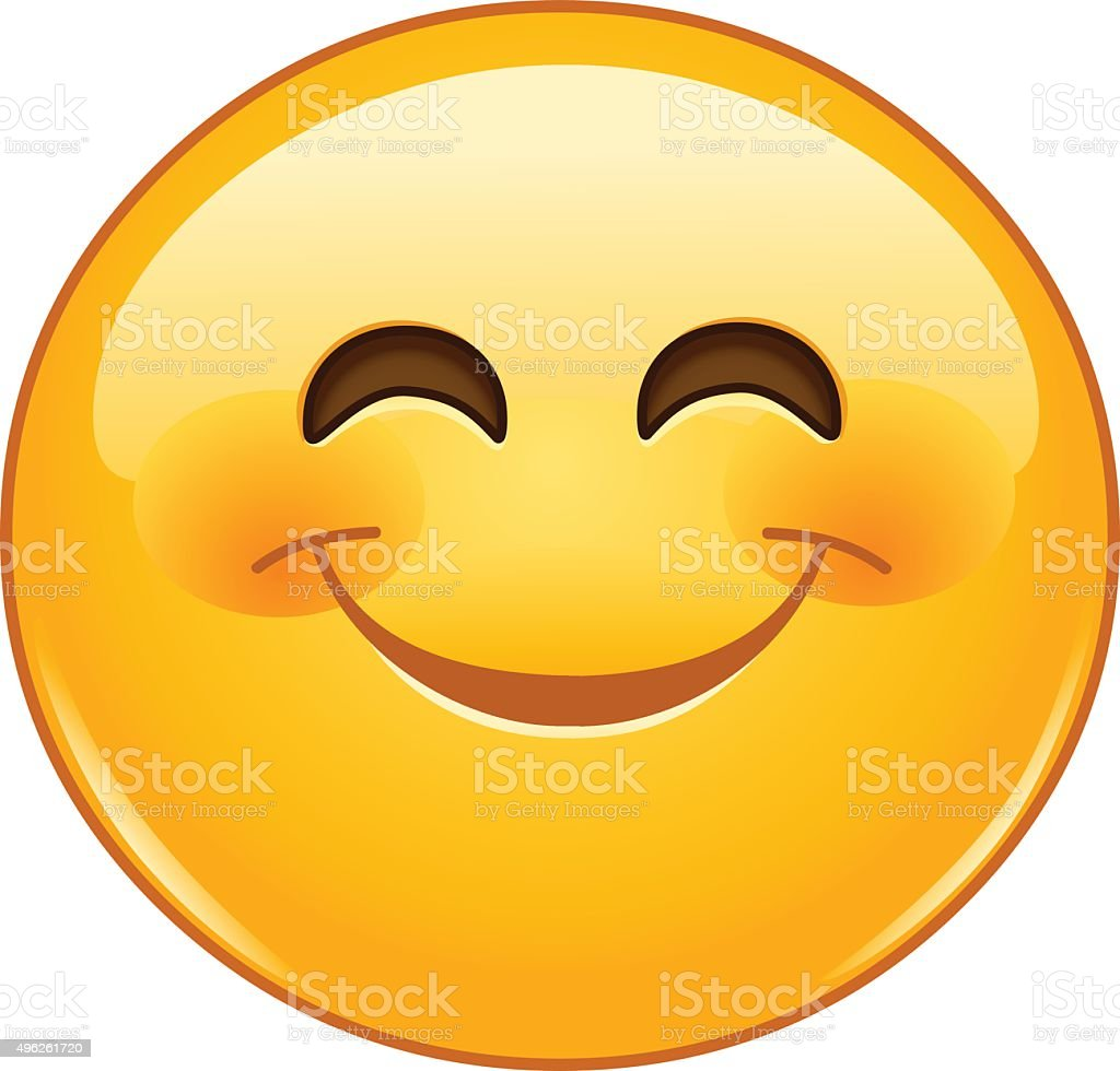 Smiling emoticon with smiling eyes vector art illustration