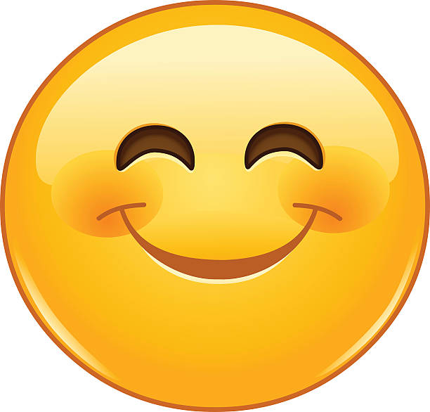 smiling emoticon with smiling eyes - happy emoji stock illustrations, clip art, cartoons, & icons