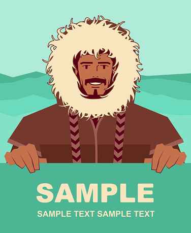Smiling Eskimo man with fur coat holding blank sign