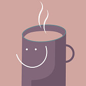 Smiling expression, head is a coffee cup. Isolated on brown background.