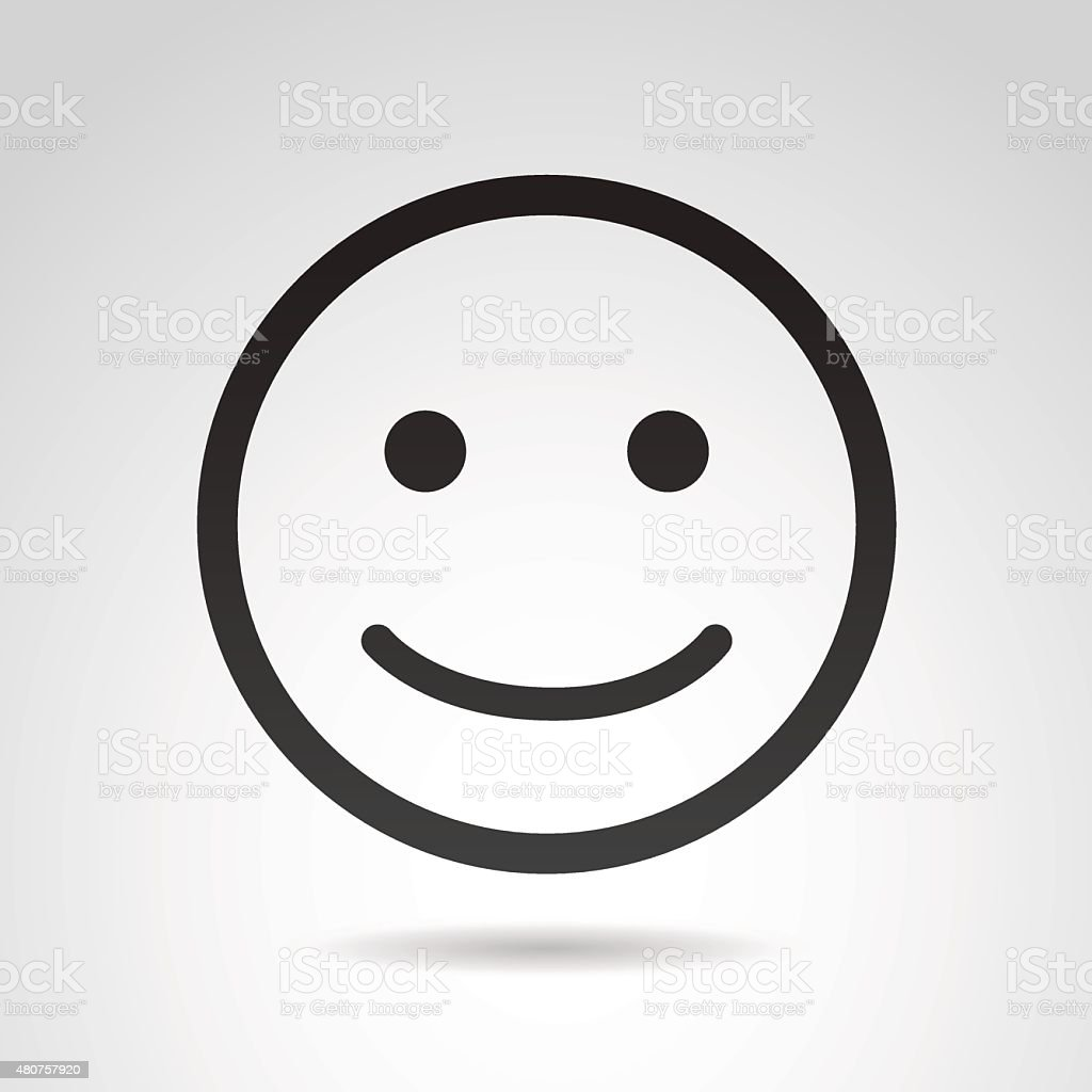 Smiling face icon isolated on white background.
