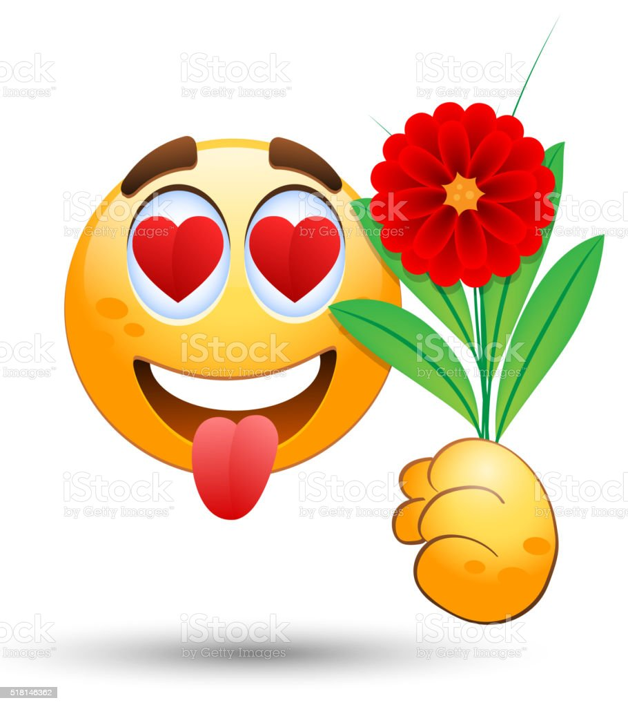 Smiling face with bunch of flowers in the hand stock vector art smiling face with bunch of flowers in the hand royalty free smiling face with bunch izmirmasajfo