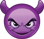 Smiling face with horns emoticon
