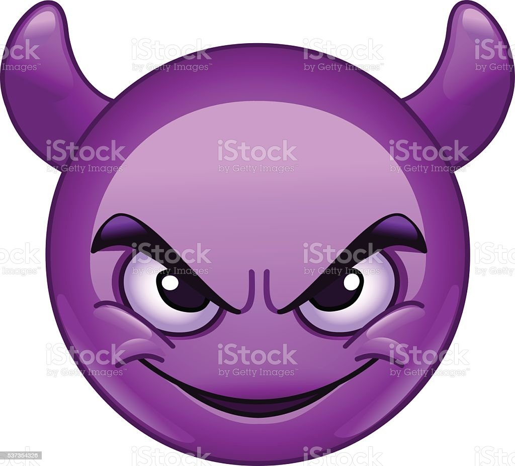 Smiling face with horns emoticon vector art illustration