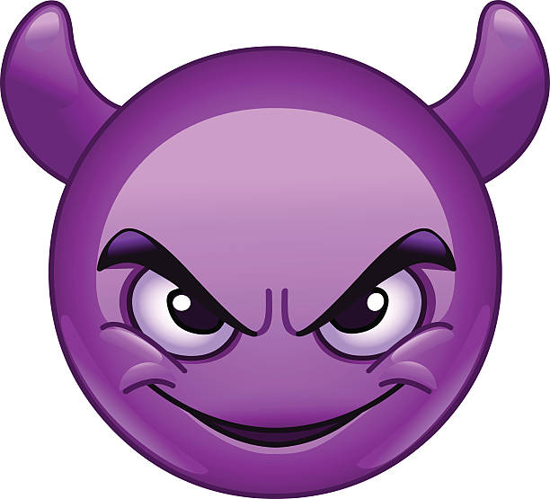 smiling face with horns emoticon - jealous emoji stock illustrations, clip art, cartoons, & icons
