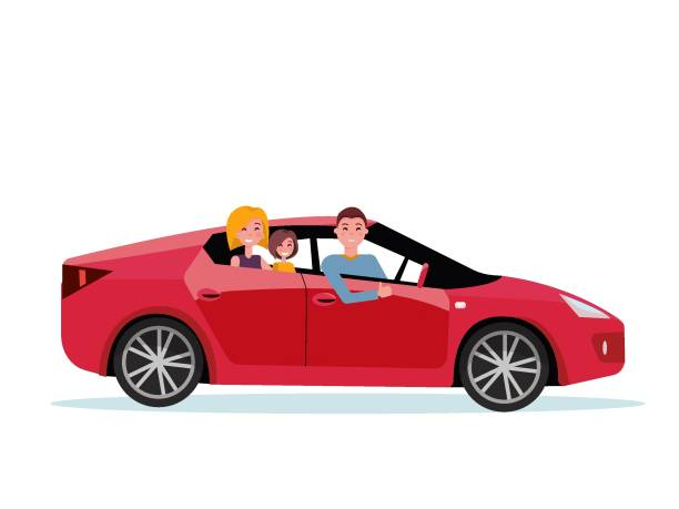 Smiling family inside their new red car. driver at the wheel of car. Mom and daughter are sitting in back seat. Side view of sports car. Man showing thumb up gesture. Vector flat cartoon illustration Smiling family inside their new red car. driver at the wheel of car. Mom and daughter are sitting in back seat. Side view of sports car. Man showing thumb up gesture. Vector flat cartoon illustration test drive stock illustrations