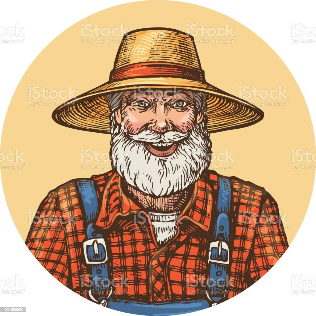 Smiling farmer in straw hat. Gardener or beekeeper vector illustration vector art illustration