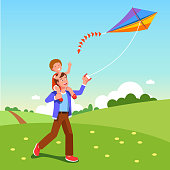 Smiling father carry laughing son on shoulders & fly kite in countryside. Flat isolated vector