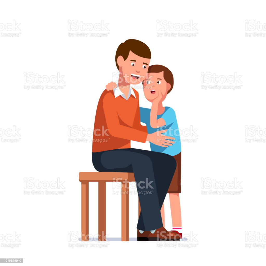 Lächelnden Vater hört Sohn erzählen Geheimnisse. Stehende Kind im erwachsenen Menschen Ohr sitzen. Klatsch-Flüstern und Familie Vertrauen Konzept. Flache isoliert Vektor - Lizenzfrei Aufregung Vektorgrafik