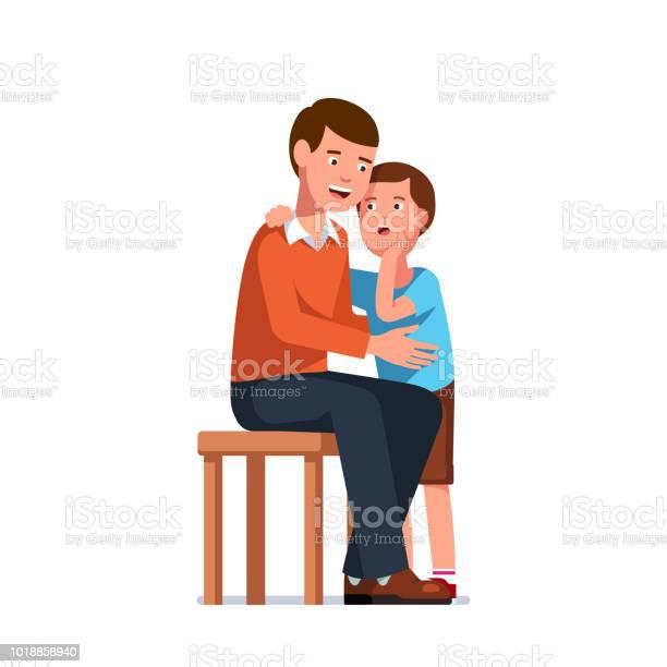 Lächelnden Vater Hört Sohn Erzählen Geheimnisse Stehende Kind Im Erwachsenen Menschen Ohr Sitzen Klatschflüstern Und Familie Vertrauen Konzept Flache Isoliert Vektor Stock Vektor Art und mehr Bilder von Aufregung